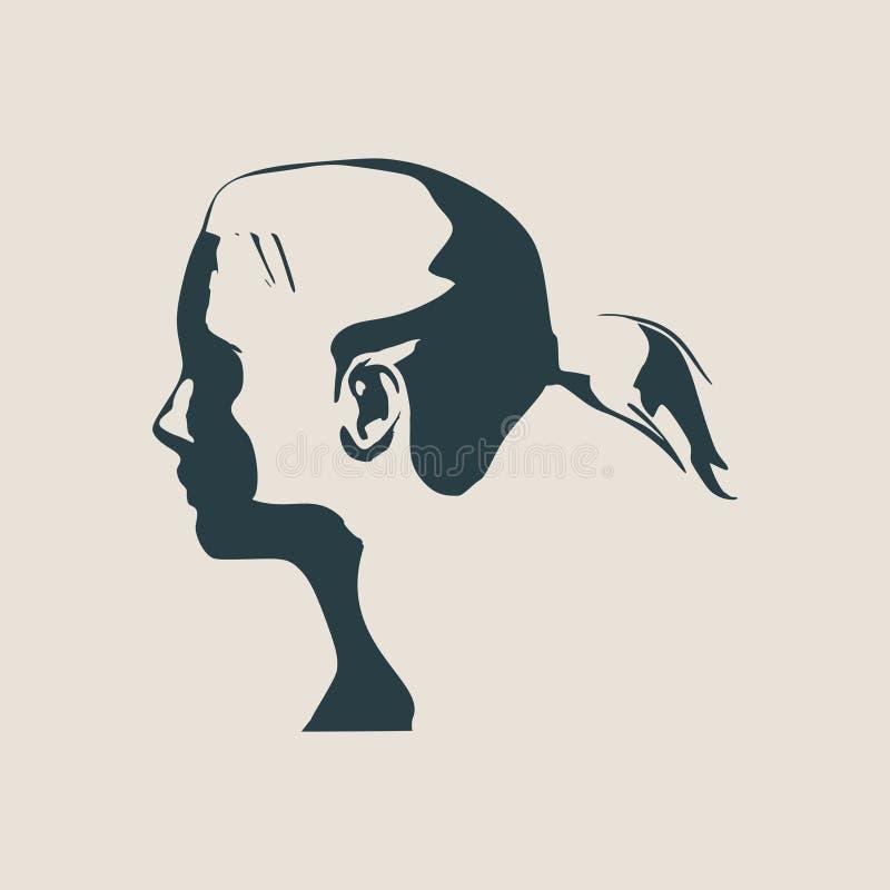 女性顶头剪影 正面看法 向量例证