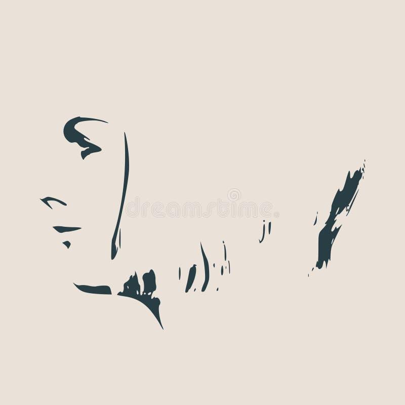 女性顶头剪影 面孔外形视图 向量例证