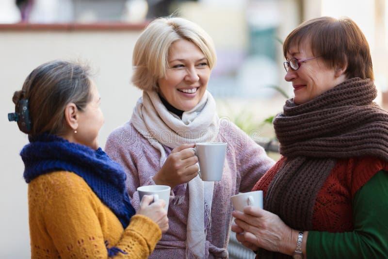 女性食用在大阳台的茶 免版税库存图片