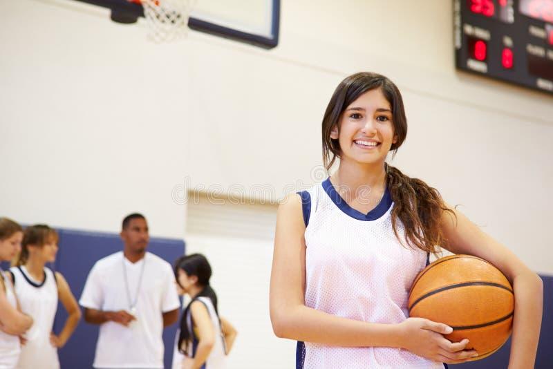 女性高中蓝球运动员画象  库存图片