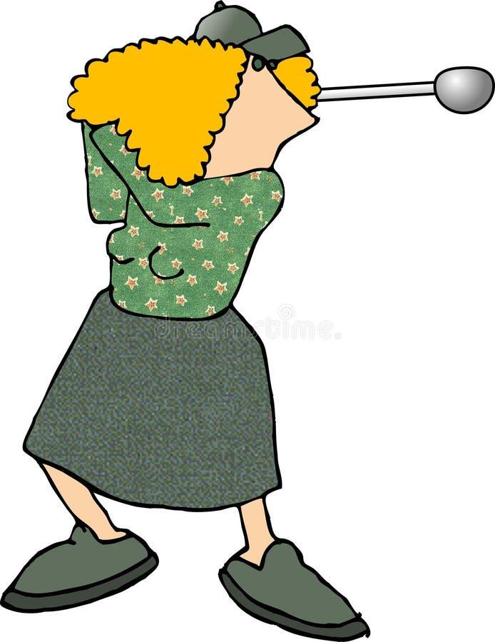 女性高尔夫球运动员 向量例证