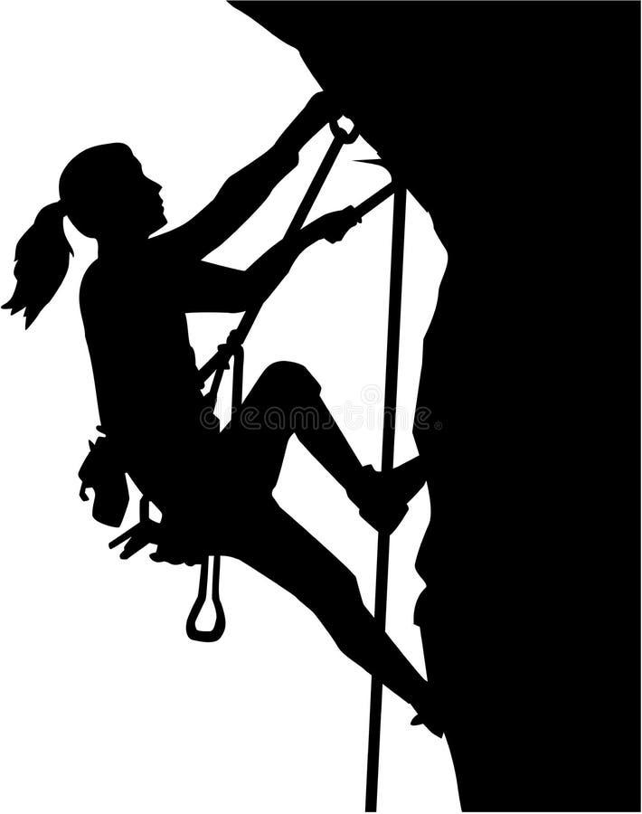 女性登山人剪影 向量例证