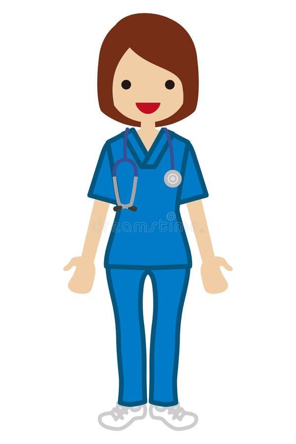 年轻女性医生-洗刷 皇族释放例证
