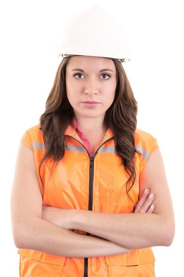 女性建筑工人或工程师有艰苦的 库存图片