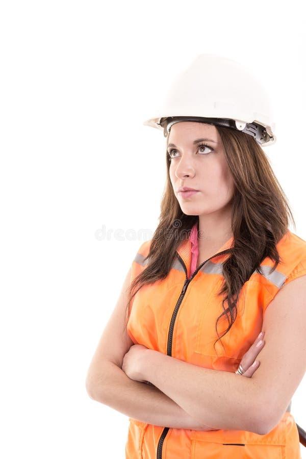 女性建筑工人或工程师有艰苦的 免版税库存图片