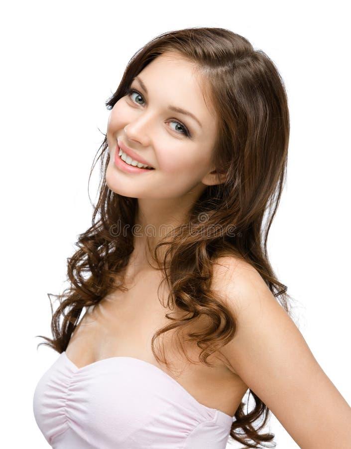 女性画象有小环的头发的 免版税库存图片