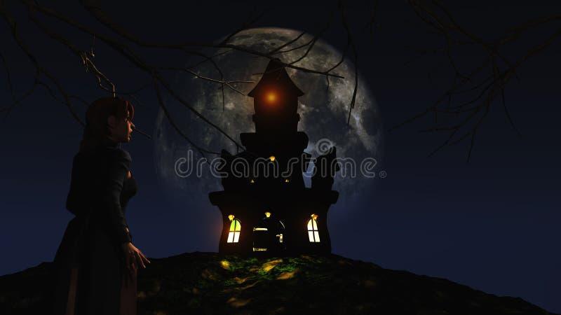 女性3D看一座鬼的城堡反对被月光照亮天空 向量例证
