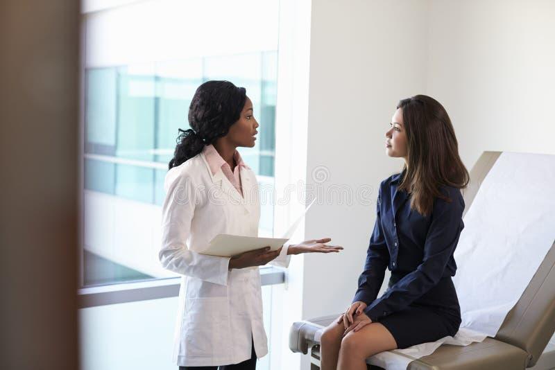 女性Meeting With Patient In医生检查屋子 库存图片