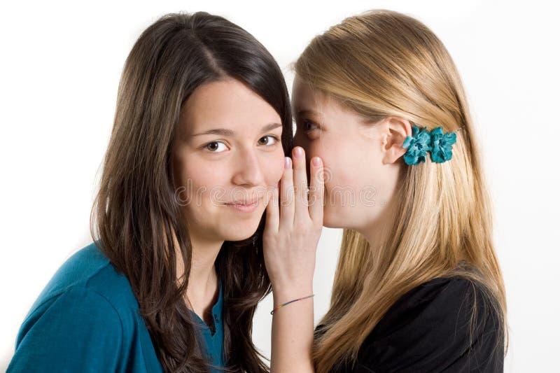 女朋友秘密耳语 库存照片