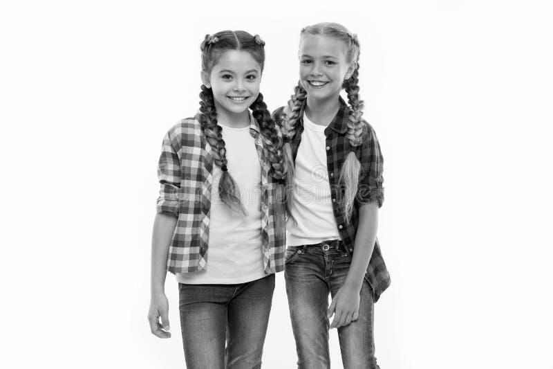 女朋友穿相似的服装有同样发型kanekalon把白色背景编成辫子 姐妹家庭神色成套装备 库存图片