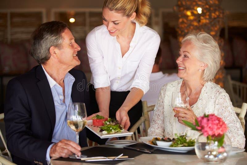 女服务员对资深夫妇的服务食物在餐馆 免版税库存照片