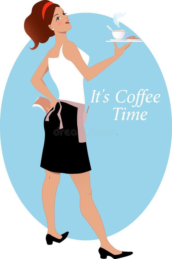 女服务员用咖啡和饼干 皇族释放例证