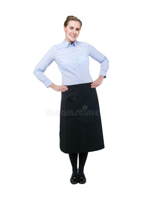 女服务员被隔绝在白色背景 白肤金发的微笑的妇女 库存照片