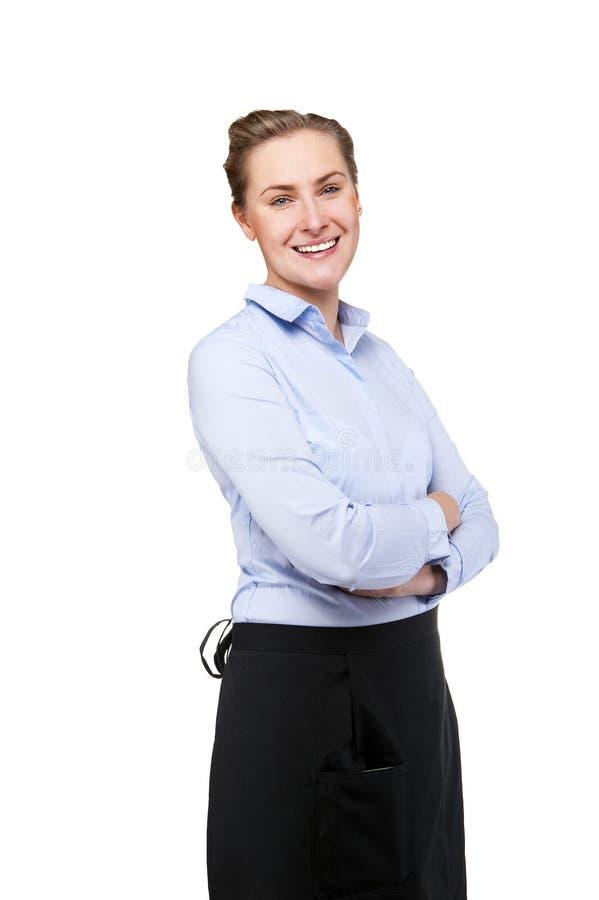 女服务员被隔绝在白色背景 白肤金发的微笑的妇女 免版税库存照片