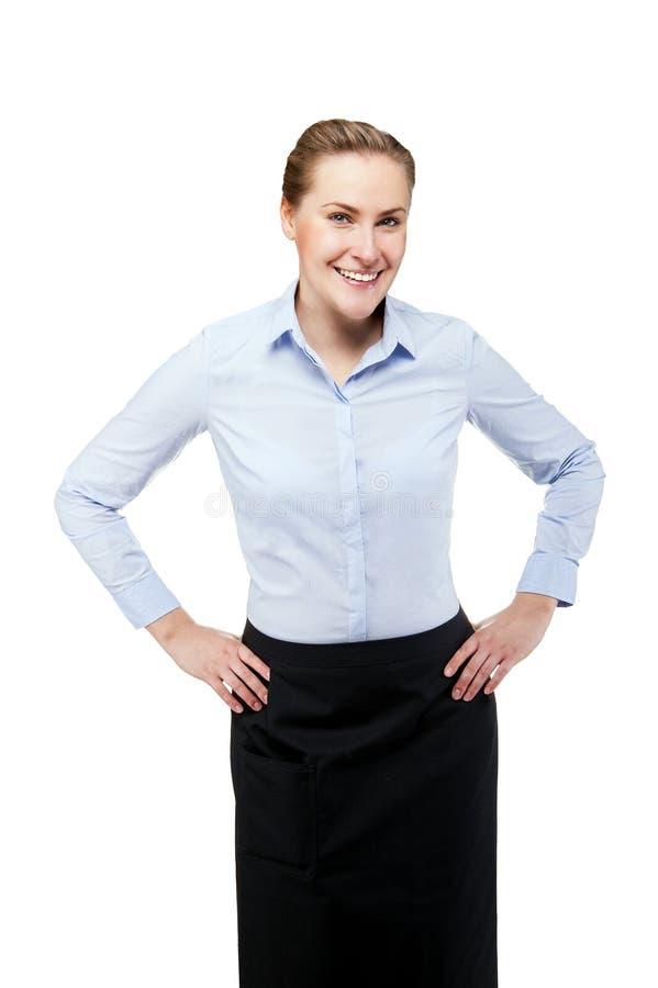 女服务员被隔绝在白色背景 白肤金发的微笑的妇女 免版税库存图片