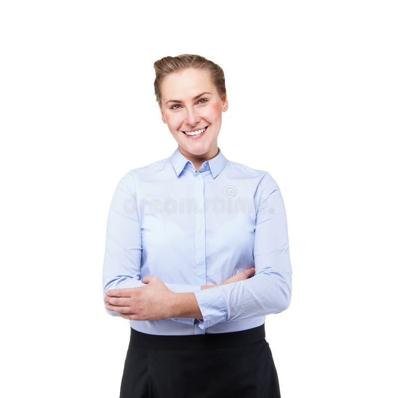 女服务员被隔绝在白色背景 白肤金发的微笑的妇女 库存图片