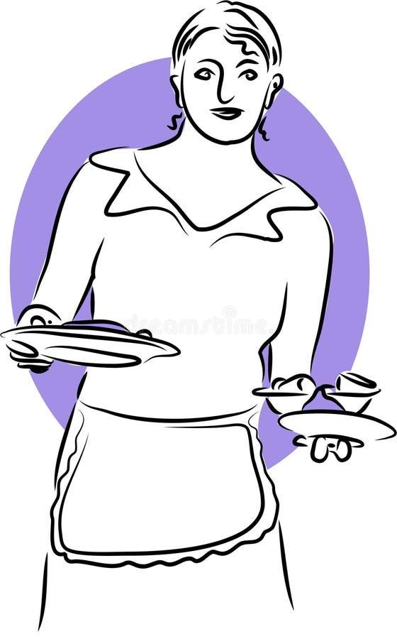 女服务员 向量例证