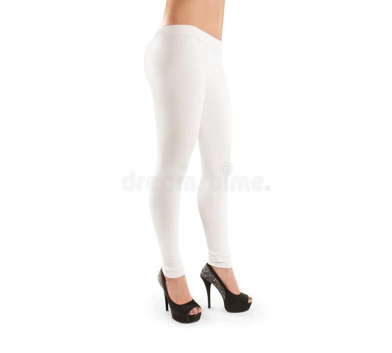 女服白色空白的绑腿大模型,被隔绝,裁减路线 库存图片