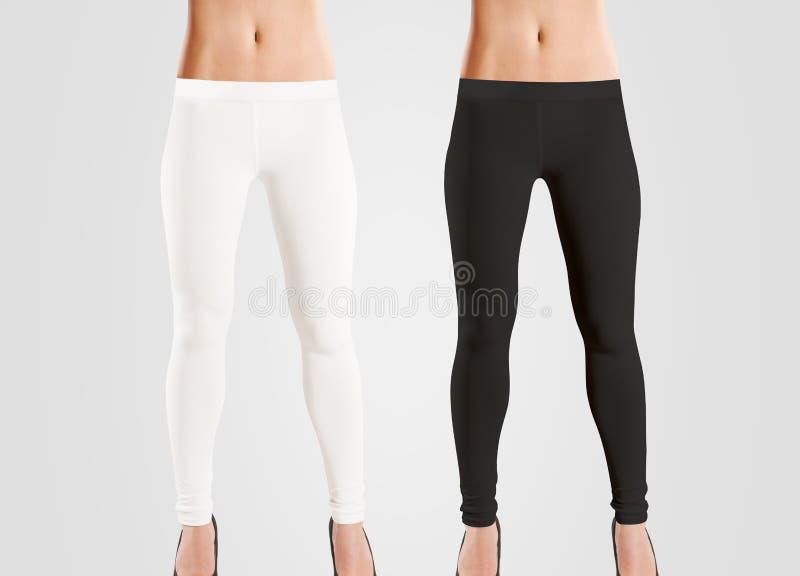 女服空白绑腿大模型,黑色,白色,在灰色 免版税图库摄影
