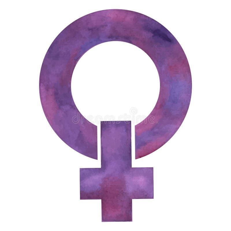 女权主义、妇女和奋斗的标志他们的权利的在紫色各种各样的树荫下  皇族释放例证