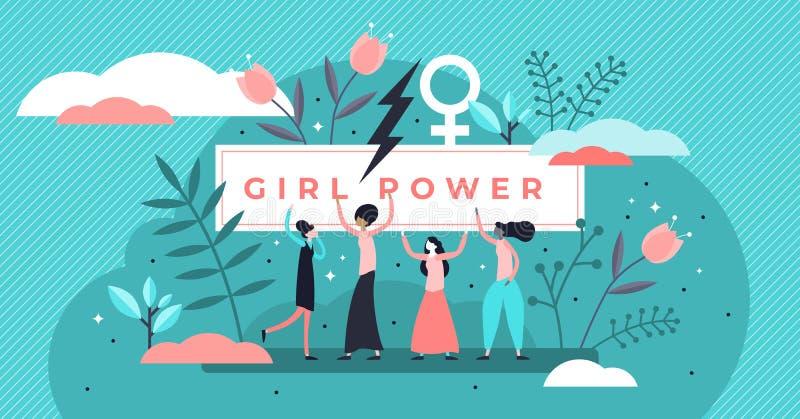 女权主义传染媒介例证 微小的妇女性别运动人概念 向量例证