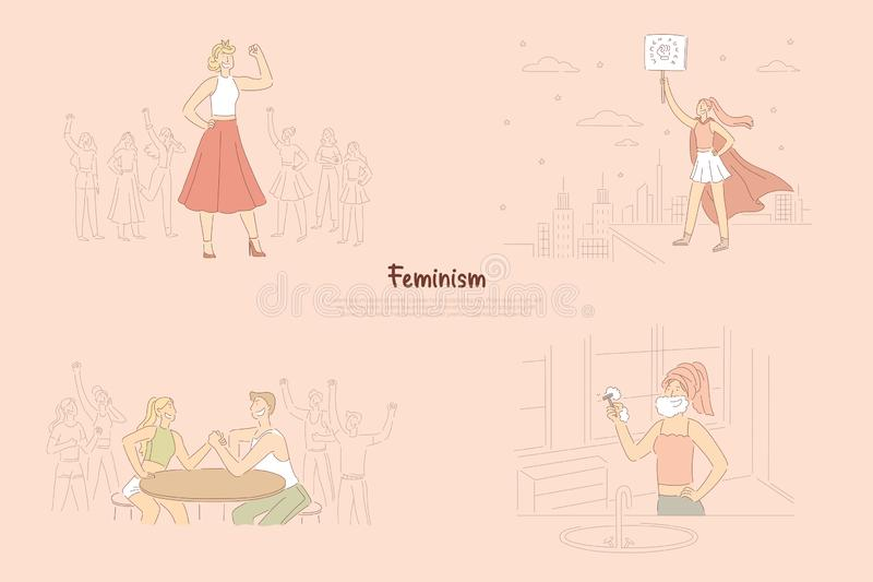 女权主义活动家斗争为相等的权利的,宣称男女平等主义者的抗议者力量和平等,非凡的女性英雄横幅 库存例证