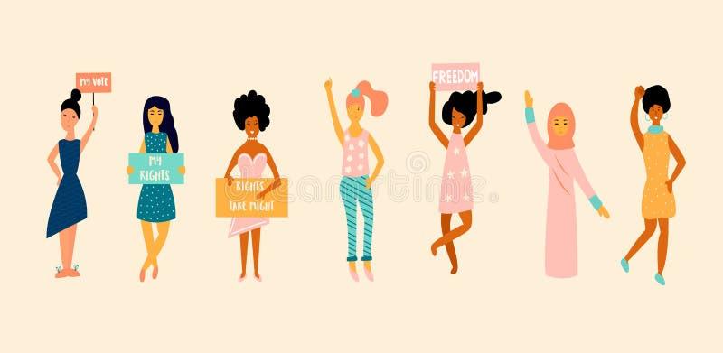 女权主义,女孩力量,女性平等的概念 库存例证