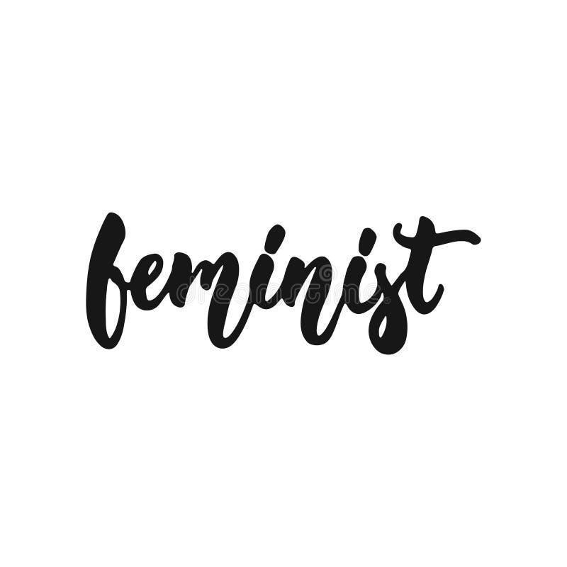 女权-关于在白色背景隔绝的女权主义的手拉的字法词组 乐趣刷子墨水题字为 库存例证