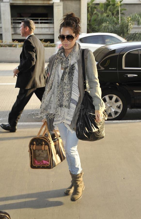 女演员机场ashley加州松驰歌唱家tisdale 库存图片