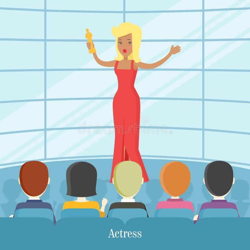 女演员超级明星 在观众前面的妇女 库存例证