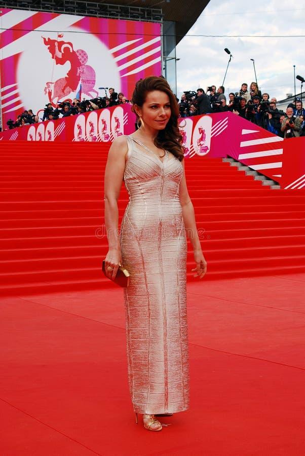 女演员Ekaterina Guseva在XXXVI莫斯科国际影片竞赛 免版税库存图片