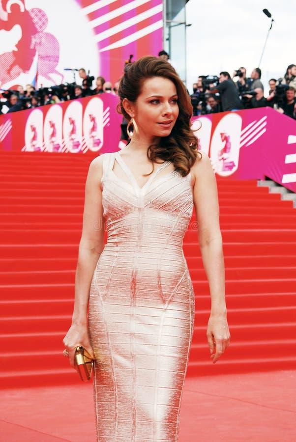 女演员Ekaterina Guseva在XXXVI莫斯科国际影片竞赛 免版税图库摄影