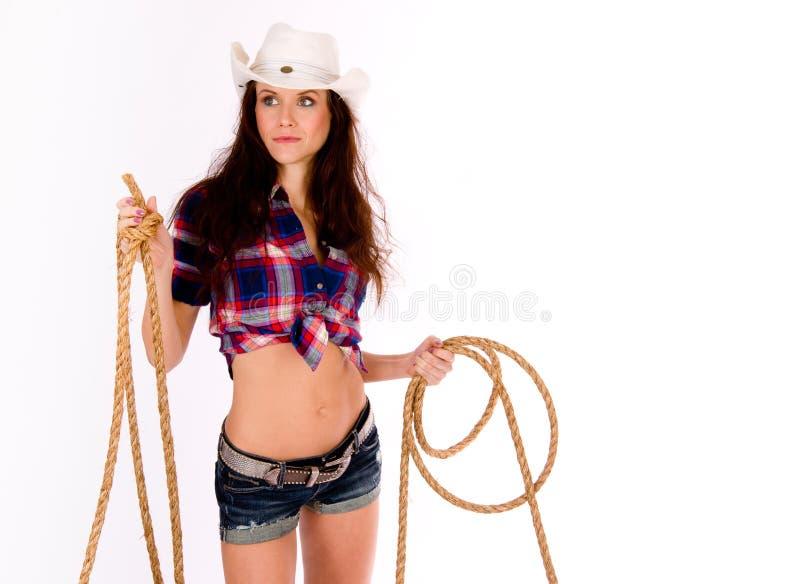 女牛仔拿着套索 免版税库存照片