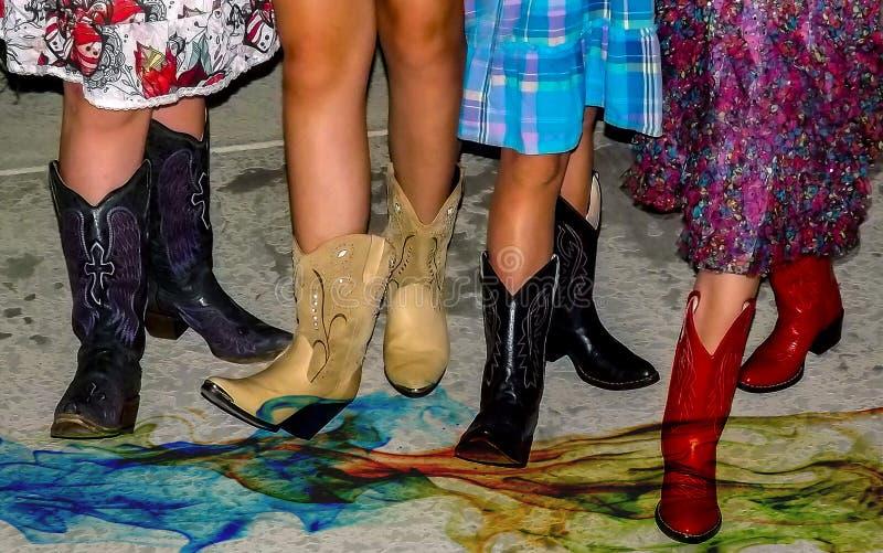女牛仔起动以各种各样的颜色 免版税库存图片
