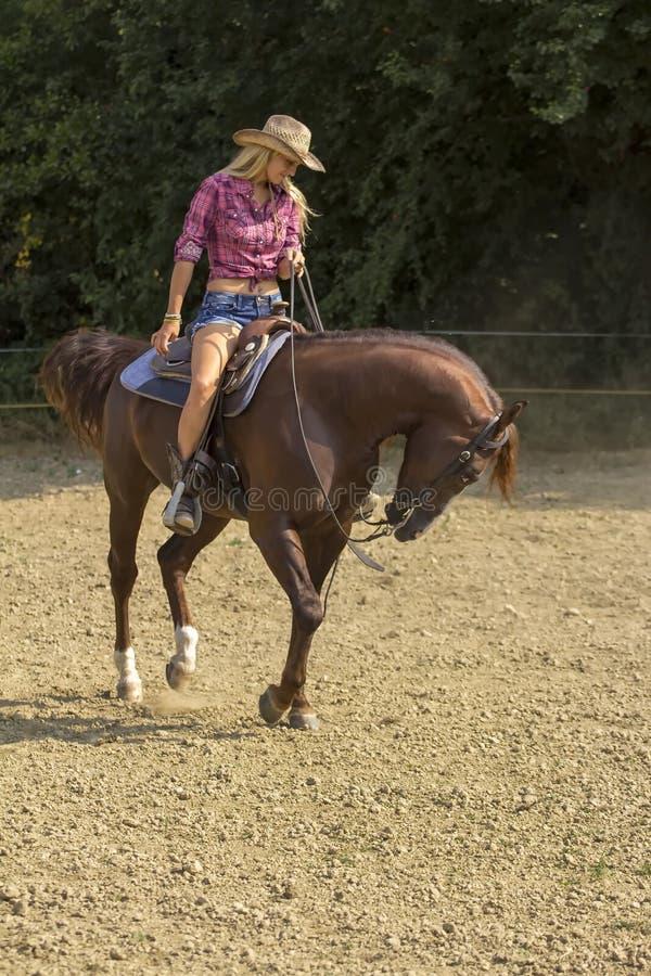女牛仔骑马 图库摄影