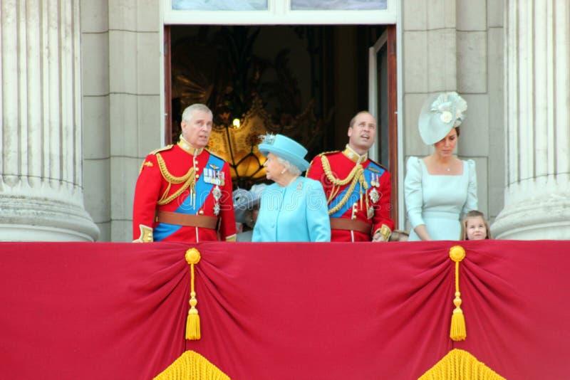 女王伊丽莎白伦敦2018年6月-进军上色安德鲁王子,威廉,查尔斯, 库存照片