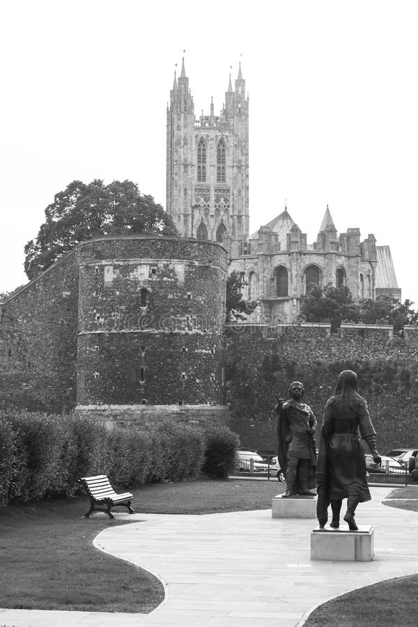 女王伯撒国王Ethelbert和雕象  坎特伯雷,肯特,英国 库存图片