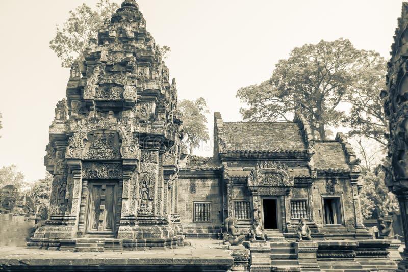 女王宫,暹粒市,乌贼属的柬埔寨寺庙外部  库存图片
