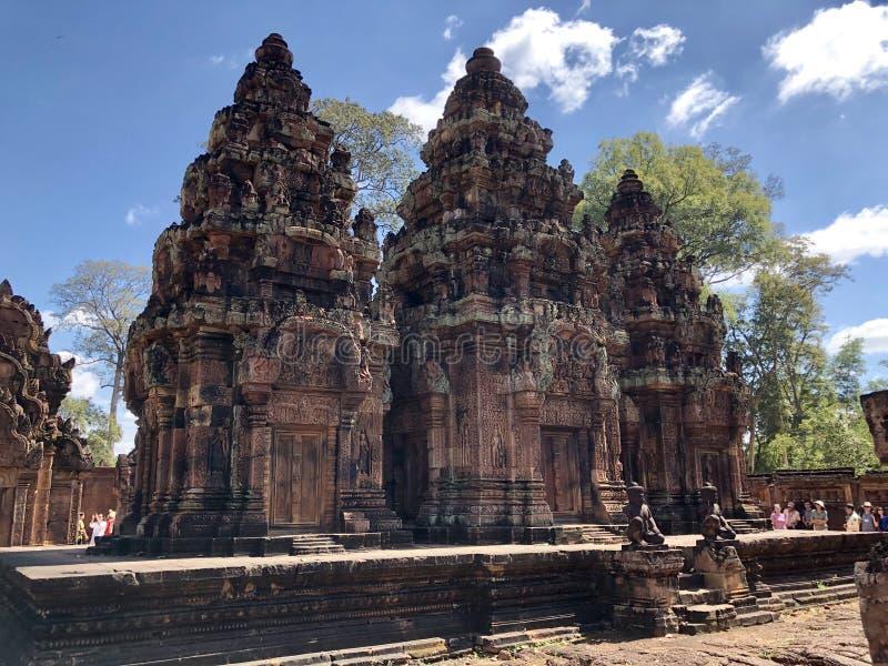 女王宫,柬埔寨小吴哥窟 免版税图库摄影