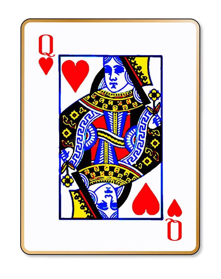 女王心脏被隔绝的纸牌 向量例证