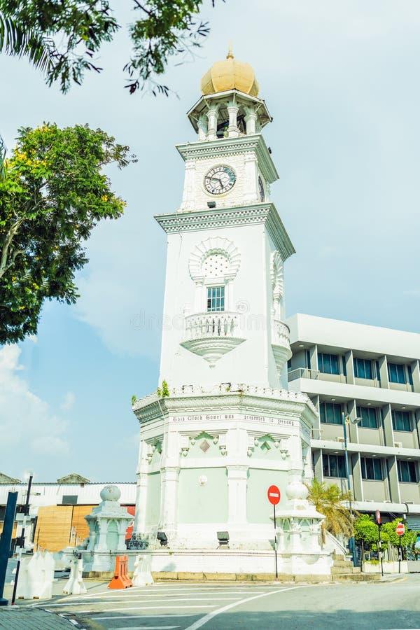女王维多利亚纪念钟楼-在槟榔岛` s殖民地天期间,塔在1897年被委任,纪念女王比克 免版税库存图片