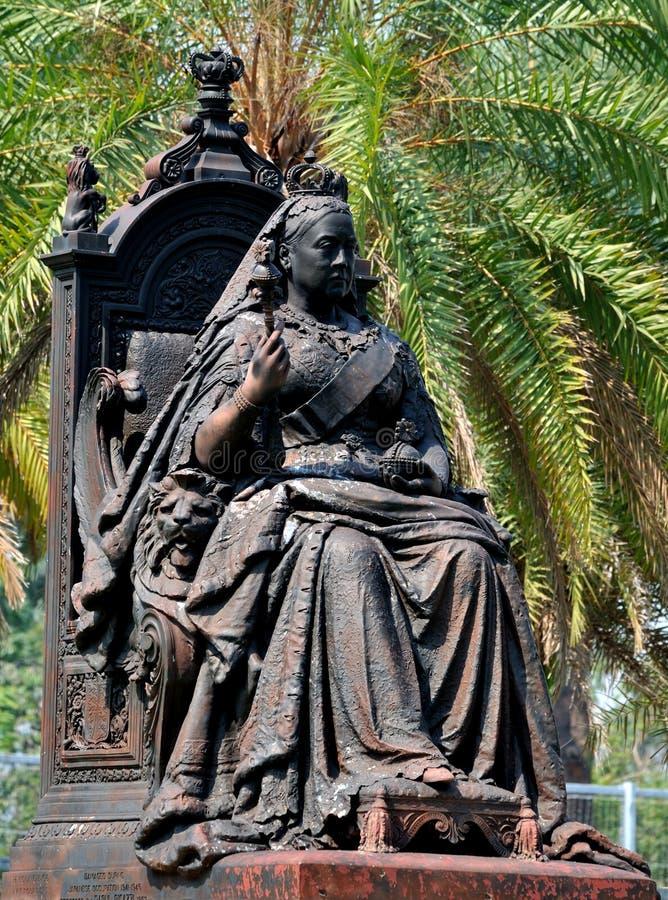 女王维多利亚雕象在香港维多利亚公园 库存图片