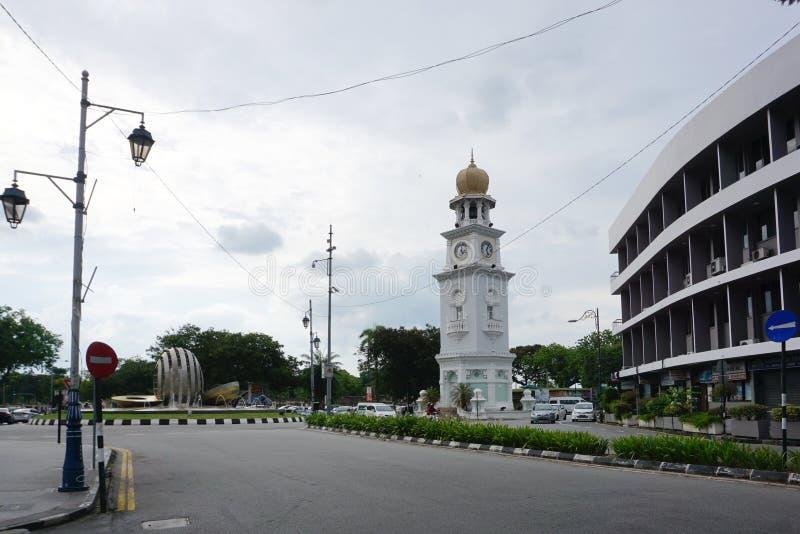 女王维多利亚纪念尖沙咀钟楼在乔治市老镇, 免版税库存照片
