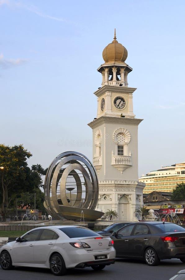 女王维多利亚纪念尖沙咀钟楼在槟榔岛 库存照片
