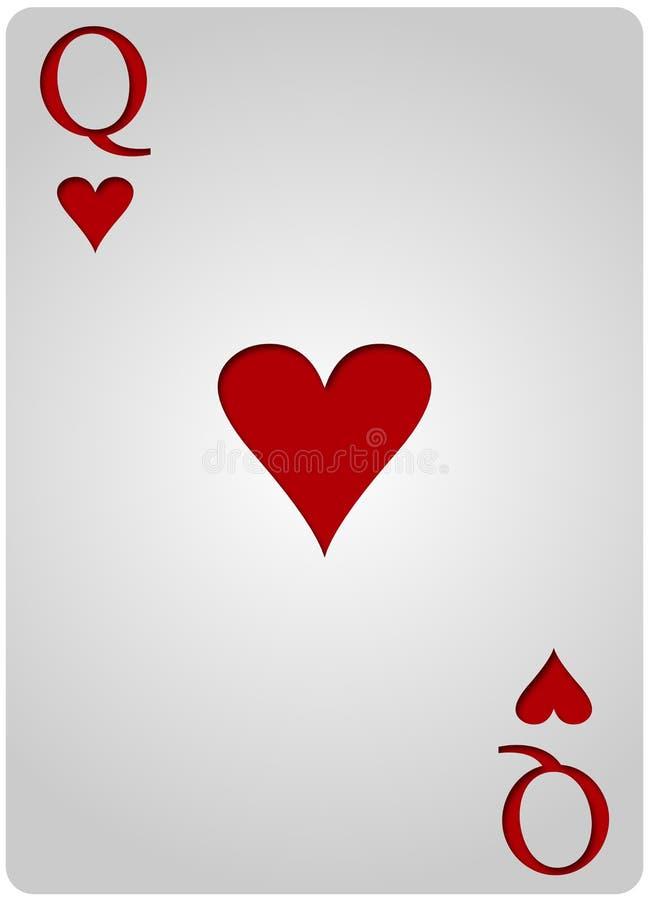 女王/王后卡片心脏啤牌 库存例证
