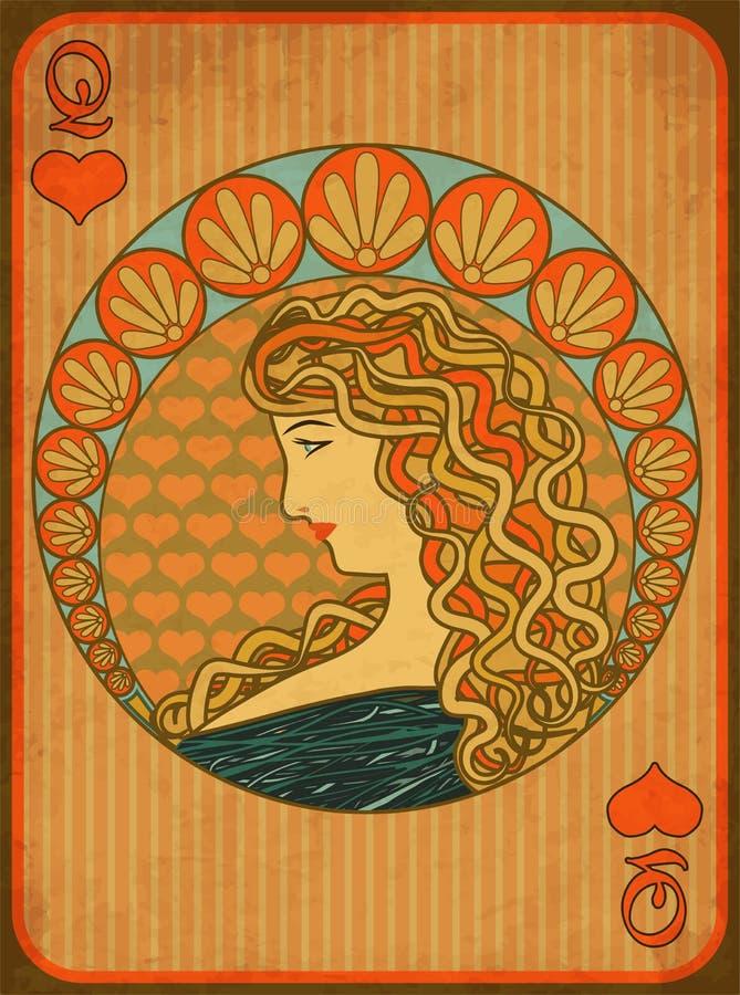女王/王后啤牌在艺术nouveau样式的心脏卡片 皇族释放例证