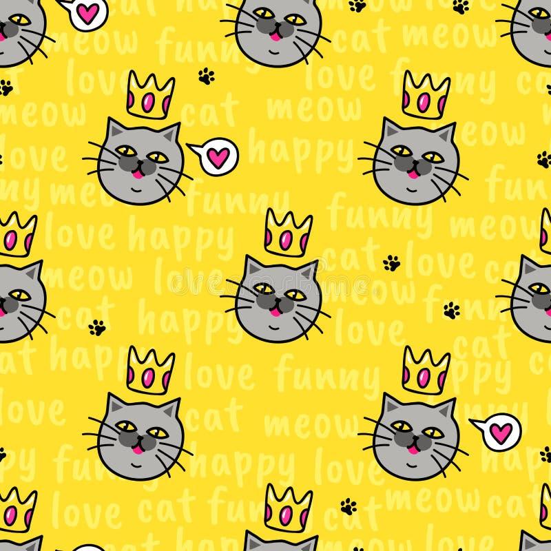女王/王后猫爱您 与动物的黄色无缝的样式 皇族释放例证