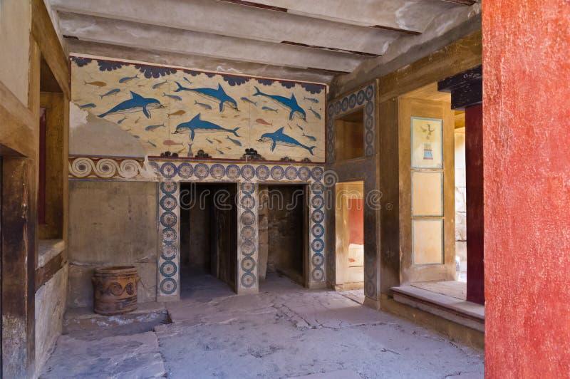 女王/王后的室细节Knossos宫殿的,克利特 免版税库存照片