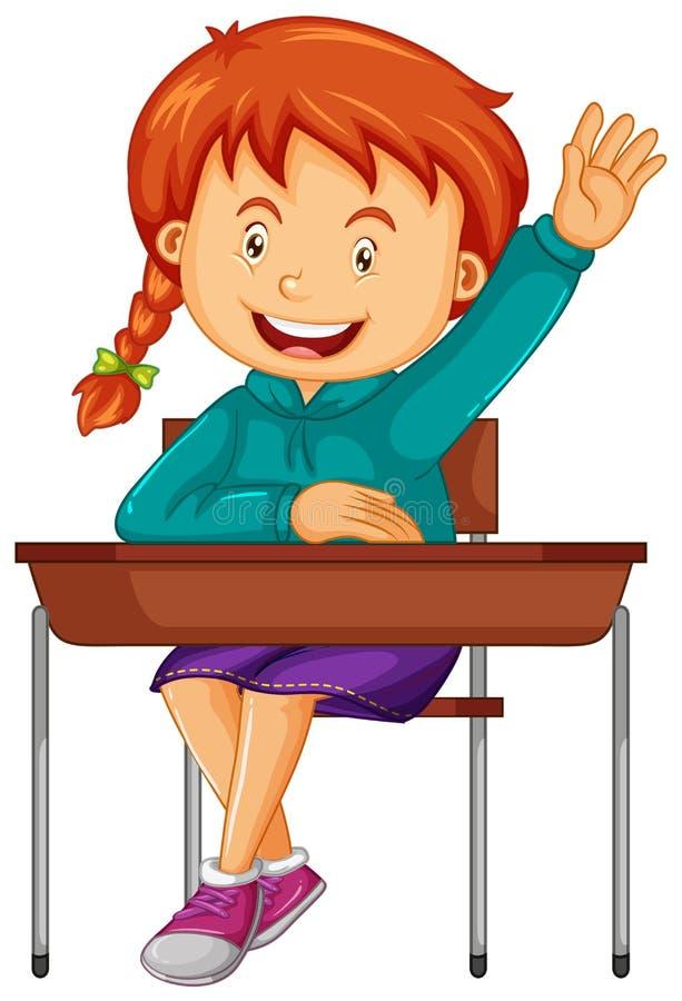 女生坐学校书桌 皇族释放例证