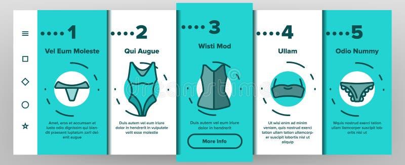 女用贴身内衣裤辅助部件项目线性传染媒介Onboarding 向量例证